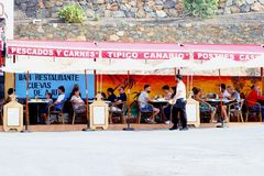 People outdoor Mediterranean restaurant terrace, Ajuy, Fuerteventura Royalty Free Stock Images