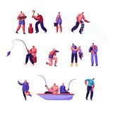 People Outdoors Activity Set. Male and Female Characters Having Active Leisure on Nature, Chopping Woods, Fishing. Collecting Mushrooms in Forest royalty free illustration