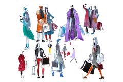 People in outerwear with shopping bags. Sale, shop. Watercolor. Royalty Free Stock Photos