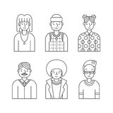 People outline gray icons vector set (men and women). Minimalistic design. Part four. Stock Photo