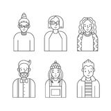 People outline gray icons vector set (men and women). Minimalistic design. Part six. Stock Image