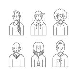 People outline gray icons vector set (men and women). Minimalistic design. Part two. Royalty Free Stock Photography