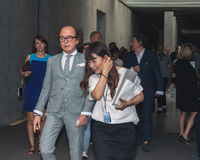 People outside Armani fashion shows building for Milan Men's Fashion Week 2014 Royalty Free Stock Image