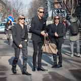 People outside Armani fashion shows building for Milan Women's Fashion Week 2014 Royalty Free Stock Photo