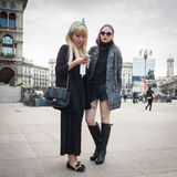 People outside the fashion shows buildings for Milan Women's Fashion Week 2014 Royalty Free Stock Photo