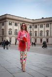 People outside the fashion shows buildings for Milan Women's Fashion Week 2014 Royalty Free Stock Photography
