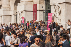 People outside Ferragamo fashion shows building for Milan Women's Fashion Week 2014 Royalty Free Stock Images