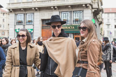 People outside Gucci fashion show building for Milan Women's Fas Royalty Free Stock Photo