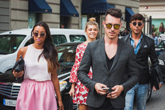 People outside Gucci fashion shows building for Milan Women's Fashion Week 2014 Royalty Free Stock Photography