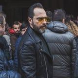 People outside John Richmond fashion show building for Milan Men's Fashion Week 2015 Stock Photo