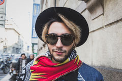 People outside John Richmond fashion show building for Milan Men's Fashion Week 2015 Royalty Free Stock Photo
