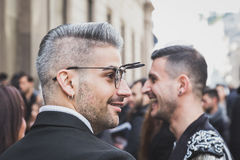 People outside John Richmond fashion show building for Milan Men's Fashion Week 2015 Royalty Free Stock Photography