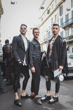 People outside John Richmond fashion show building for Milan Men's Fashion Week 2015 Stock Image