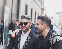 People outside John Richmond fashion show building for Milan Men's Fashion Week 2015 Stock Photo