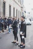 People outside John Richmond fashion show building for Milan Men's Fashion Week 2015 Stock Photography