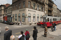 People outside the sarajevo museum Royalty Free Stock Images
