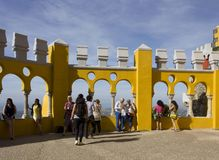 People outside the terrace of Pena National Palace in Sintra Stock Image