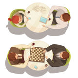 People Over Cup Of Coffee At Round Tables. Playing checkers and talking top view flat cartoon vector illustration stock illustration