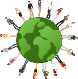 People over earth globe Royalty Free Stock Images