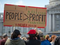 People over profit sign at March for Our Lives rally in San Francisco royalty free stock photography