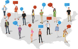 People over United States of America map. Young people with speech balloons over United States of America map Stock Photo