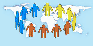 People over white Unity. Logo Unity people over earth background Stock Photo