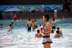 The people of the paddle in SHENZHEN NANSHAN Stock Photography