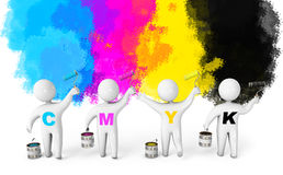 People paint walls in colorful colors. People paint the walls in colorful colors. Paint roller and a bucket. CMYK concept. 3d render Royalty Free Stock Images