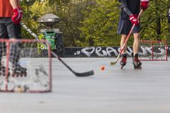 Street hockey low angle view Royalty Free Stock Image