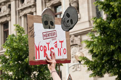 People with panel during the demonstration against Monsanto and the transatlantique treated fo Stock Photography