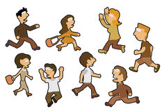 People in panic. Vector hand drawn illustration of people (retro colors Royalty Free Stock Photos