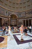 People in the Pantheon in Rome stock image