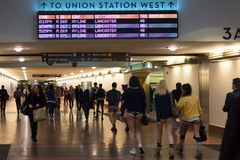 People without pants arriving in Union Station during the Royalty Free Stock Photos