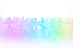People Paper Cut Chain as Crowd or Teamwork Concept Royalty Free Stock Photography