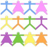 People paper friend chain in white background Stock Photography