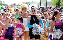 Cheerleaders in parade Royalty Free Stock Image