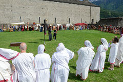 People during a parade of medieval characters on Castelgrande ca Royalty Free Stock Photos