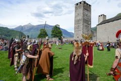 People during a parade of medieval characters on Castelgrande ca Royalty Free Stock Photography