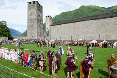 People during a parade of medieval characters on Castelgrande ca Stock Photos