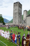 People during a parade of medieval characters on Castelgrande ca Stock Photography