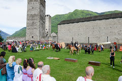 People during a parade of medieval characters on Castelgrande ca Stock Photo