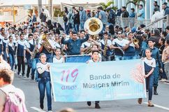 People parading at the Desfile Civico, Campo Grande MS, Brazil. Campo Grande, Brazil - August 26, 2018: Civic Parade desfile civico at 13 de Maio street. People stock images