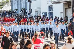People parading at the Desfile Civico, Campo Grande MS, Brazil. Campo Grande, Brazil - August 26, 2018: Civic Parade desfile civico at 13 de Maio street. People stock photos