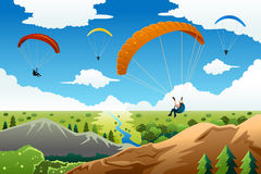 People paragliding Stock Photos