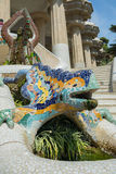People at  Parc Guell made by  Antoni Gaudi - Barcelona Stock Photos
