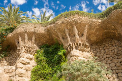 People at  Parc Guell made by  Antoni Gaudi - Barcelona Royalty Free Stock Photo