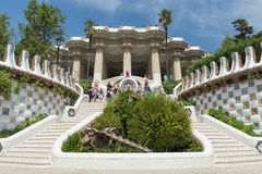 People at  Parc Guell made by  Antoni Gaudi - Barcelona Stock Photo