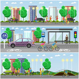 People in park concept banners. City landscape with road and parks. Vector illustration Stock Photography