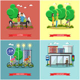 People in park concept banners vector set. Time with kids and friends. Royalty Free Stock Photo