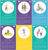 People in Park Have Fun, Entertain Cartoon Poster. People in park having fun and entertaining isolated cartoon vector poster. Girl riding bike and on skateboard stock illustration